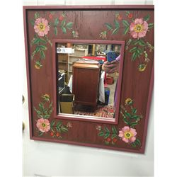 """Hand Painted and Signed Mirror """" Nootka Rose """" 22.5"""" x 25"""""""