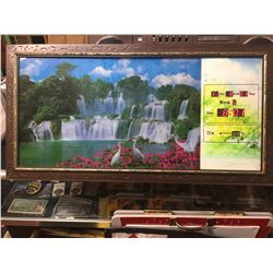 """Light up Picture and Date/Time/ Temperature. Also has bird chirping 35"""" W 18""""H x 4"""" Thick"""