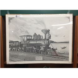 Signed C.P,R. Picture 1st Engine into Vancouver 1887 Engine 374