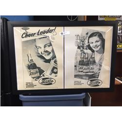"""Two Pepsi Cola Ads from the Early 1960's Blown up and Framed. 32"""" x 22.5"""""""
