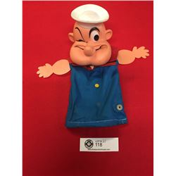 Vintage Mattel Inc. 1967 Made in Hong Kong Popeye The Sailor Hand Puppet. Missing His Pipe