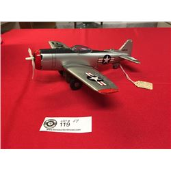 """Vintage P47 Thunderbolt Tin Friction Plane. Made by HTC Japan. 10"""" w x 9"""" L"""