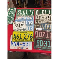 15 Vintage License Plates from 1958-1998