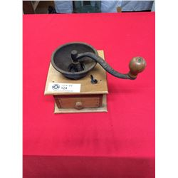 Vintage Wood Coffee Grinder Finger Joint Made With a Cast Iron Crank