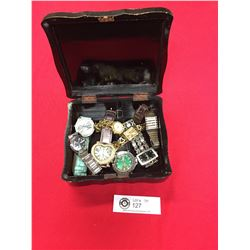 Vintage Black Laquer Jewelry Box with Ladies and Men's Wristwatches. ( Needs Batteries)