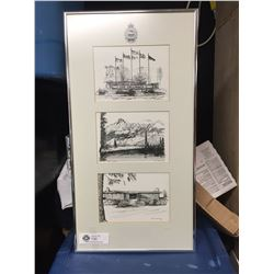 Nicely Framed 3 Sketches of CFB Chilliwack 12 x 23