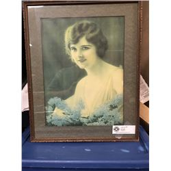 Vintage Antique Photo of a Lady in a Wood Frame 13.5 x 16.5