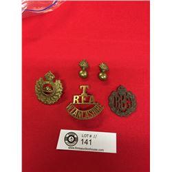 Lot of WWI/WWII Era Canadian Cap+ Collar Badges