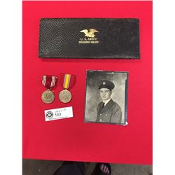 2 US Military Medals Photo and US Army Discharge Holder