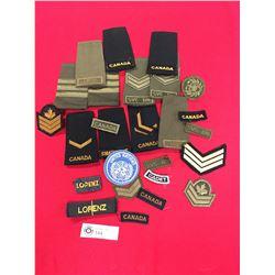 Lot of Canadian Cloth Badges, Titles, Plus a UN Cloth Badge