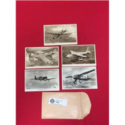 5 WWII Airplane Postcards Passed by press and Censorship Bureau