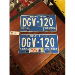 Expo 86 BC License Plates. Last Year of the Blue Plates.