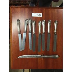 9 Pieces Sterling Silver Handles. With Stainless Steel blades. 700 Grams Total Weight
