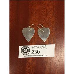 Pair of Large Heavy Sterling Silver Heart Earrings