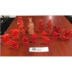 15 Vintage Ivory Chess Pieces Dyed Red