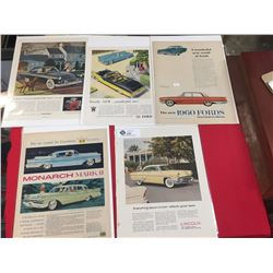 5 1950's and 1960's Car Advertisments on White Cardboard in Plastic Bags