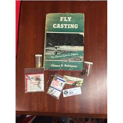 A Group of Vintage Fishing Items Including a Fly Fishing Book