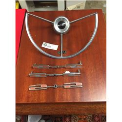 Vintage Ford Emblems and Steering Wheel Center Piece