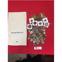 Vintage Bank Bag with over 100 Coins from Around the World Plus 15 Tokens