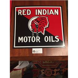 Embossed Red Indian Motor Oils Tin Sign by AAA Signs. Ohio. Reproduction