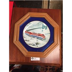 British Columbia Railway Commemorative Decorative Plate set in a Cherry Wood Frame