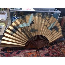 Asian Style Decorative Fan. Spans out to 6ft Wide. Hand Painted. Flying Birds