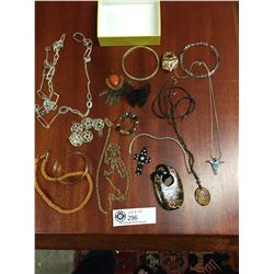 Costume Jewelry Lot. Necklaces, Pins, Rings, Bracelets etc.