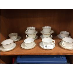10 Fire King Cups + Saucers 1950's  No Chips or Cracks