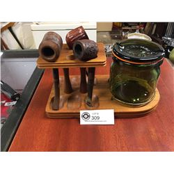 Vintage Pipe Humidor and Stand, with 3 Pipes