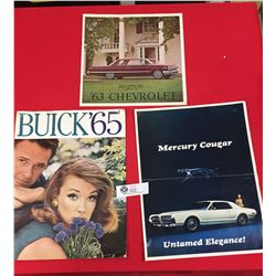 3 1960's Car Advertising Pamphlets 1965 Buick,1963 Chevrolet, 1967 Mercury Cougar