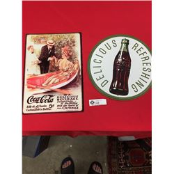 2 Newer Coca Cola Tin Signs