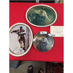 "1983 "" Weavers of Speech"" Collector's Plate With COA.+ Tin Tray. Also a Norman Rockwell Tin Tray "" T"