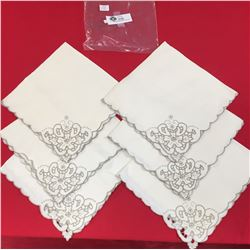 6 Vintage Embroidered Irish Linnen Napkins from 1930's