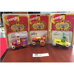 3 1979 New in Package Corgi Muppet Show Cars. Fozzie, Animal and Kermit