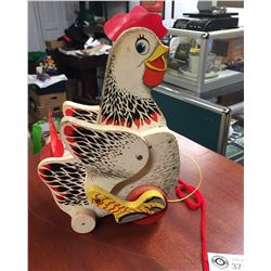 Vintage Fisher Price Crackling Hen. Pull along Toy and YES! It Still Crackles When You Pull It!