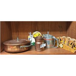Shelf Lot of Vintage Kitchenware. Spice Rack,Flour Sifter, Bugs Bunny Clock, 2 Copper Pots