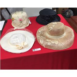 4 Brand New Ladies Dress Hats. Only used as Movie Props
