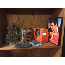 "Nice Vintage Shelf Lot. ""Man or Astroman"" Lunchbox,Elvis Poster,Canning Jar with Decorative Eggs, Br"