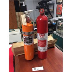 2 Fire Extinguishers. One Red, One Orange
