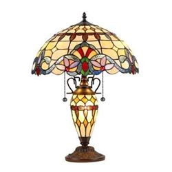 "Tiffany-style 3 Light Victorian Double Lit Table Lamp 16"" Shade"