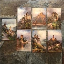 Group of Early 1900's Grand Tour Postcards, Scenic Castles, Rhine River, Germany