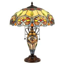 "Tiffany-style 3 Light Floral Double Lit Table Lamp 16"" Shade"