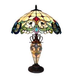 Tiffany-style 3 Light Double Lit Victorian Table Lamp 18""