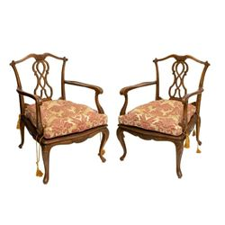 Pair of Venetian Carved Walnut Cane Seat Armchairs