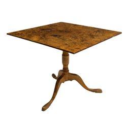 19thc Antique Scandinavian Burlwood Tilt Top Table