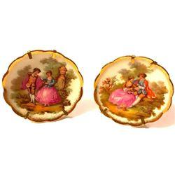 Vintage Pair French Limoges Porcelain Fragonard Courting Scene Plates