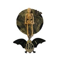 Artisan Creation Halloween Skeleton & Bat Brooch