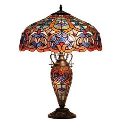 """Tiffany-style Victorian 3 Light Double Lit Table Lamp 18"""" Shade"""