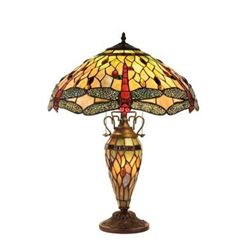Tiffany-style Dragonfly 3 Light Double Lit Table