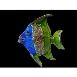 Vintage 1970's Blue & Green Enamel & Rhinestone Fish Brooch Pin